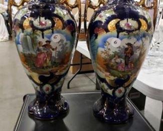 "#1117: 2 Large Hand Painted Glazed Over Porcelain Vase Measures 19"" tall"