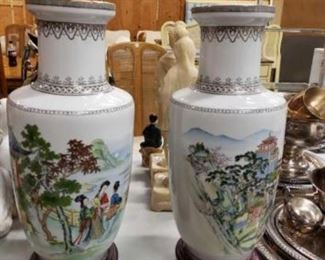 """#1118: Asian Hand Painted glazed porcelain vases with pedestal stands Approximately 21"""" tall with pedestals"""