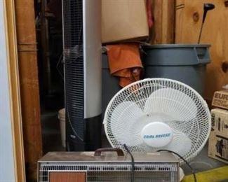 #1200: Tower Fan, Table Fan and an Electric Heater Tower Fan, Table Fan and an Electric Heater