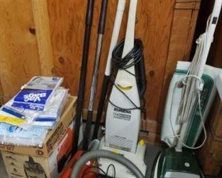 #1201: Three Eureka Vacuums, Vacuum Attachments and Vacuum Bags Three Eureka Vacuums, Vacuum Attachments and Vacuum Bags