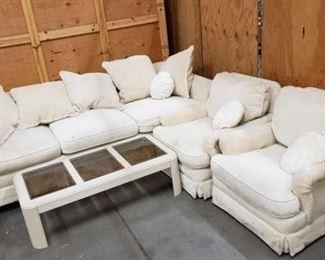 "#1511: Sofa on Wheels, 2 Chairs on Wheels, and Coffee Table Sofa on Wheels 108""×47"", 2 Chairs on Wheels 35""×40"" and Coffee Table 51""×26"""