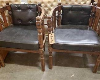 #1523: 2 Vintage Style Chairs 2 Vintage Style Chairs