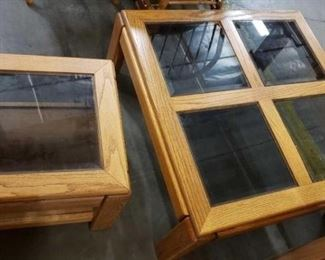 """#1525: Wood with Glass Coffee Table and End Table Wood with Glass Coffee Table 37""""×37""""×16"""" and End Table 20""""×20""""×16"""""""