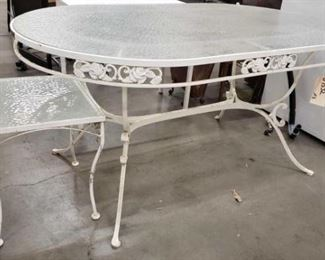 #1532: Metal with Glass Patio Table and Beverage Table Metal with Glass Patio Table and Beverage Table