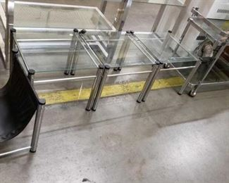 #1541: Roll Glass Shelved Cart, 2 Glass End Tables, and Magazine Holder Roll Glass Shelved Cart, 2 Glass End Tables, and Magazine Holder