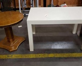 """#1520: Dining Table White and Lamp Table Dining Table White 48""""×30""""×30"""" and Lamp Table 30"""" Wide and 27"""" Tall"""