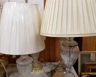 """#1714: 4 Crystal Lamps 31"""" - 37"""" Tall 4 Crystal Lamps 31"""" - 37"""" Tall"""