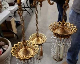 """#1716: Gold Colored Chandelier with Crystal Measures approximately 34"""" tall"""