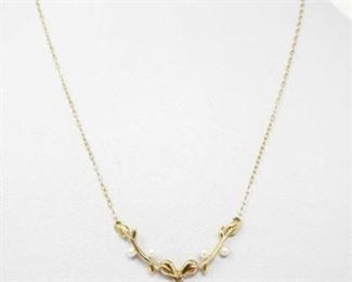 """#59: 14k Gold Necklace with Pearls, 2.6g Weighs approx 2.6g, Measures approx 15""""-18"""""""