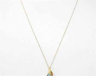 """#64: 14k Gold Necklace with Semi-Precious Stone Pedents, 1.7g Weighs approx 1.7g, measures approx 17.5"""""""