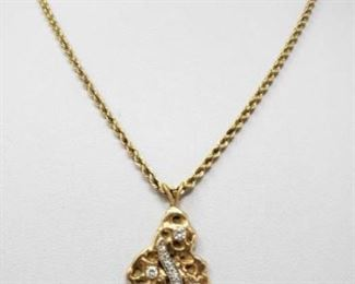 """#102: 14k Gold Necklace with Diamonds, 19.1g Weighs approx 19.1g, measures approx 17"""""""