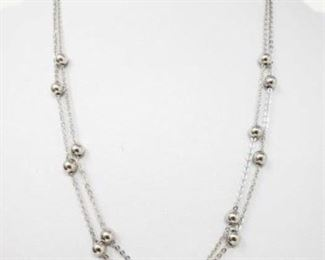 """#107: 14k White Gold Necklace, 3.6g Weighs approx 3.6g, measures approx 17""""-19"""""""