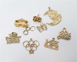 #159: Eight 14k Gold Pendents, 7.4g Combined weigh approx 7.4g