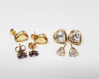 #177: Four Pairs of 14k Earrings, 5g Combined weigh approx 5g