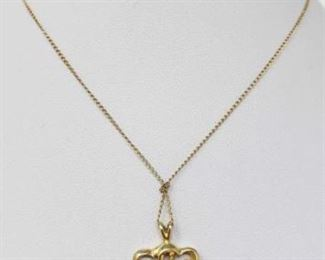 """#180: 14k Gold Necklace with Gold and Diamond Pendent, 2.3g Weighs approx 2.3g, Chain measures approx 18"""" long, chain is knotted"""