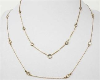 """#186: Two 14k Gold Necklaces, 8g Necklaces combined weigh approx 8g, necklaces measure approx 15.5"""" and 36"""""""