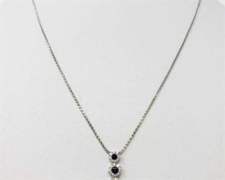 """#4: 14k White Gold Necklace with Diamond Pendent, 3.7g Weighs approx 3.7g, chain measures approx 17"""""""