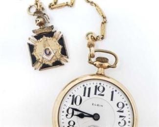 #40: 10k Gold B.W. Raymond Elgin Pocket Watch, 101.7g Marked 20327415