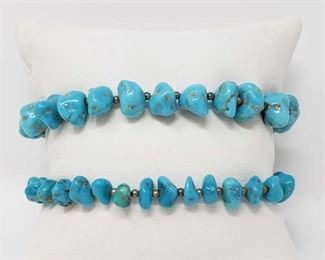 """#79: Two Sterling Silver and Turquoise Bracelets, 21.6g Combined weigh approx 21.6g, measure approx 7"""" long"""