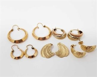 #96: 5 Pairs of 14k Gold Earrings, 10.3g Combined weigh approx 10.3g