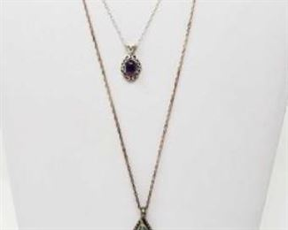 """#103: Two Sterling Silver Necklaces and Pendent, 26.9g Combined weigh approx 26.9g, necklace chains measure approx 18"""" and 24"""""""