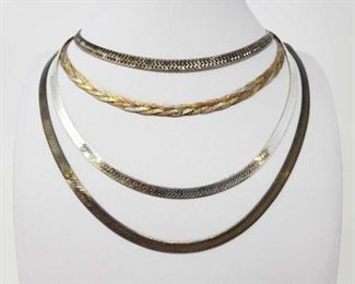 """#128: Four Sterling Silver Necklaces, 77.8g Necklaces measure 18""""- 30"""" , all combined weigh approx 77.8g"""