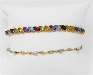 """#132: Two 14k Gold Bracelets, 9.3g Combined weigh approx 9.3g, bracelets measure approx 7"""" and 9"""""""