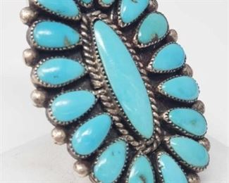 #178: Large Turquoise Cluster Sterling Silver Ring, 17.6g Weighs approx 17.6g, Size 9.5