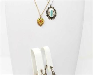 """#179: Two Sterling Silver Necklaces and Pair of Earrings Gold-colored chain is not sterling, only pendent Silver combined weighs approx 17.2g Chains measure approx 16"""" and 18"""""""
