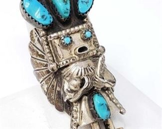 #181: Sterling Silver and Turquoise Kachina Doll Ring, 15.1g Marked D Smryn, weighs approx 15.1g, size 10