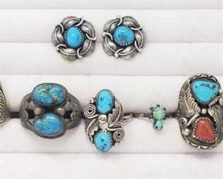 #190: 6 Sterling Silver and Turquoise Rings and Pair of Earrings Combined weigh approx 51.1g, Sizes 5-10