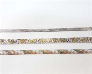 """#211: Three Streling Silver Bracelets, 46.4g All three combined weigh approx 46.4g, all measure approx 8"""""""