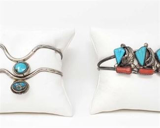 #214: Three Sterling Silver and Turquoise Bracelets, 31.9g Combined weigh approx 31.9g