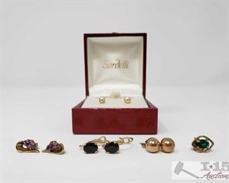 # 3 Four Pairs of 14K Gold Earrings With One Single Earring, 3.8g