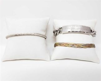 """#39: Three Sterling Silver Bracelets, 50.2g All three weigh approx 50.2g, bracelets measure approx 7.5"""" long"""