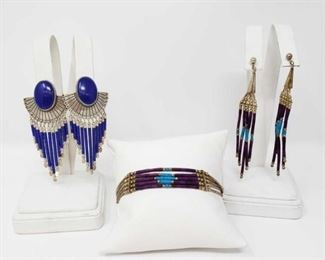 """#78: Two Pairs of Sterling Silver Earring and a Bracaelet, 26.4g Combined weigh approx 26.4g, braceket measures approx 7"""""""