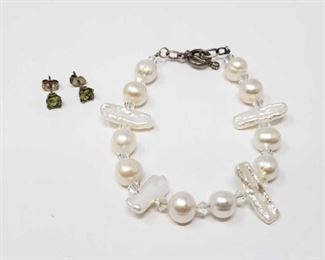 """#172: Sterling Silver Earring and Pearl Necklace with Sterling Clasp, 14.3g Combined weigh approx 14.3g, bracelet measures approx 7"""""""
