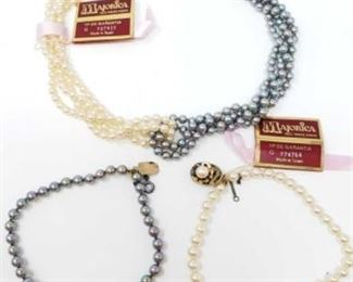 """#173: Majorica Necklace and Bracelets with Sterling Silver Clasps, 60.2g All combined weigh approx 60.2g, bracelets measure approx 8"""" each, necklace measures approx 15"""""""