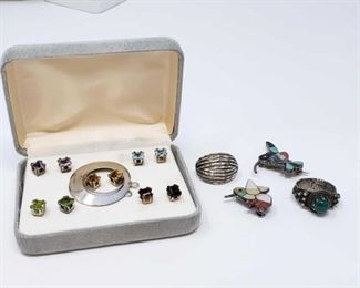 #193: Sterling Silver Ring, Pins and Five Pairs of Earrings All combined weigh approx 22g, rings is size 5.5