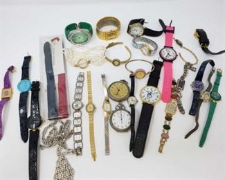 #220: Assorted Watches, Stopwatches and a Necklace Brands include Geneve, Timex, Kenneth Jay Lane, Futra, Fidelity, Elfin and More