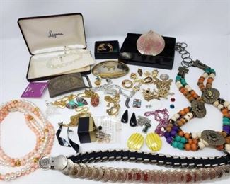 #222: Assorted Costume Jewelry Includes necklaces, earrings, pins, buckles, belts and more