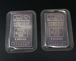 #253: Two JM Fine Silver .999 Bars, 5g each 5g each, numbers 144927 and 143378 189