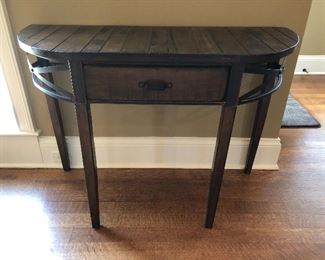 """$125 obo Demi Lune Wood and Metal Entry Accent Table with drawer.  41.75""""w x 16.25""""d x 30""""h"""
