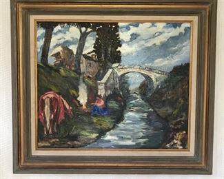 Horse and Woman by Bridge https://ctbids.com/#!/description/share/159939