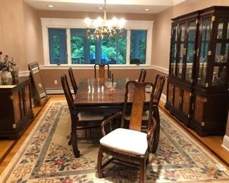 Asian Dining Room Set: Table w/ 1 Leave & 6 Chairs, Breakfront & Server.  Large Chinese Carpet