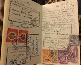 Passport w/Several Central American Stamps