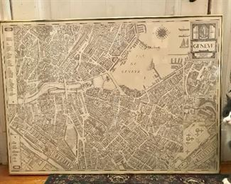 Large Framed Vintage Map of Geneva (kitty not included!)