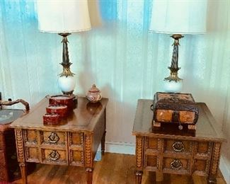 """Mid-Century """"American of Martinsville"""" End Tables & Quoizel Mid-Century Lamps"""