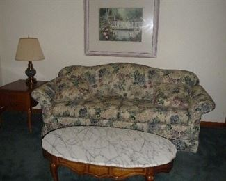 marble top coffee table / sofa  has matching chair
