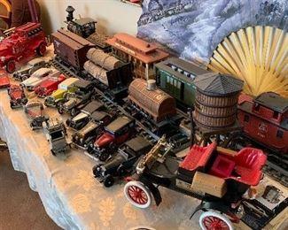 Jim Beam train decanters, Jim Beam fire engine decanter, Jim Beam Model T decanter, Franlin Mint Diecast cars